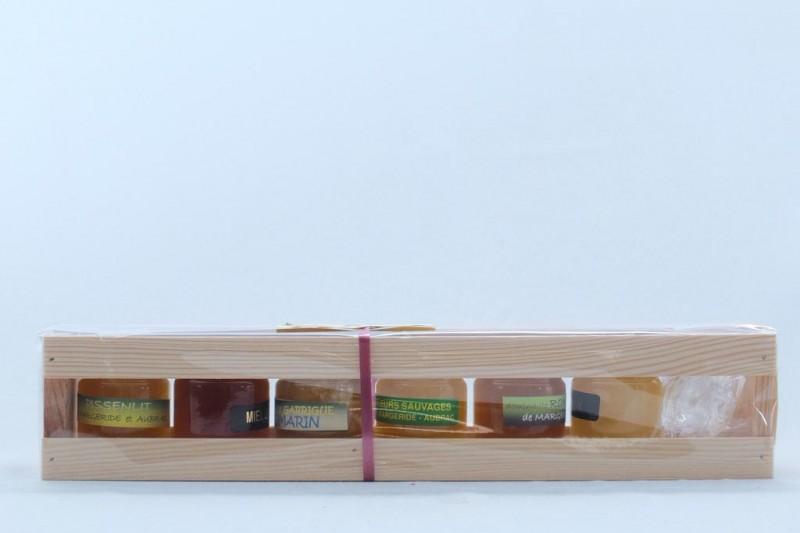 Coffret bois 50g - 6 variétés de miel
